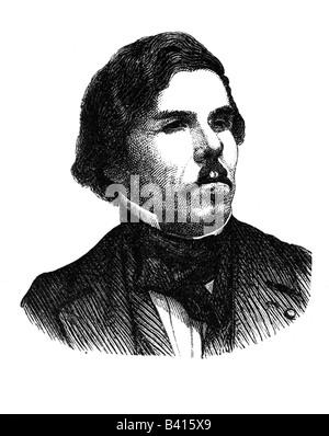 Delacroix, Eugene, 26.4.1798 - 13.8.1863, peintre français, portrait, gravure sur bois, XIXe siècle, Banque D'Images