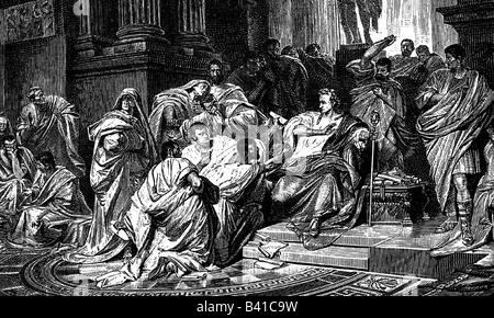 César, Gaius Julius, 13.7.100 - 15.3.44 av. J.-C., homme politique romain, mort, assassinat au Senat, gravure en Banque D'Images