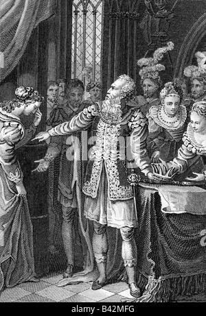 Shakespeare, William, 23.4.1564 - 23.4.1616, Anglais auteur / scénariste, travaux publics, jouer 'Le Roi Lear', Banque D'Images