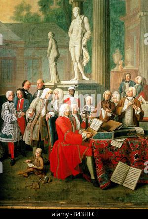 Musique, concerts, concert au château d'Ismaning, peinture de Peter Jakob Horemans, Munich, 1733, Banque D'Images