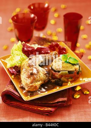La pintade jambe avec sauce au porto et tian de légumes
