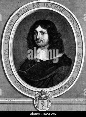 Colbert, Jean Baptiste, 29.8.1619 - 6.9.1683, homme politique français, portrait, gravure sur cuivre par Nanteuil Banque D'Images