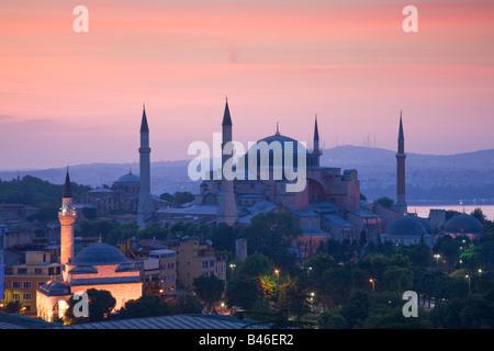 Turquie Istanbul vue élevée de la mosquée Sainte-Sophie Banque D'Images