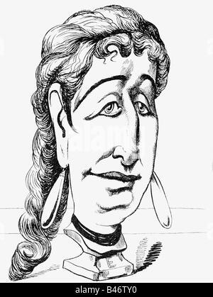 """Eugénie, 5.5.1826 - 11.7.1920, l'Impératrice Consort de France 30.1.1853 - 4.9.1870, la caricature, """"cire figure: Banque D'Images"""