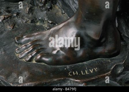 Charles Octave Levy (1820 - 1899) - 'mineur'., grande sculpture en bronze montrant patine brune. Jeune mineur athlétique Banque D'Images