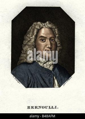 Daniel Bernoulli, 8.2.1700 - 7.3.1782, mathématicien et physicien Suisse, gravure sur acier par P. Wuest, vers 1840, après la peinture par Pfenniger, coloré, l'artiste n'a pas d'auteur pour être effacé