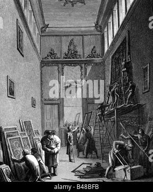Dominique-Vivant Denon,, 4.1.1747 - 27.4.1827, peintre français, écrivain, pleine longueur, le vol d'oeuvres d'art Banque D'Images