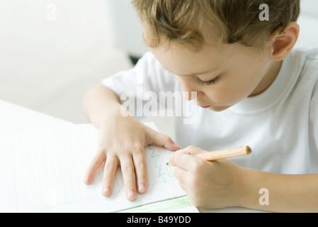 Petit garçon assis à table, dessin avec crayon de couleur Banque D'Images