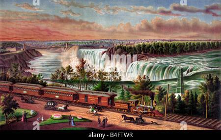 Chemin de fer du sud du Canada à la peinture d'Art Banque D'Images