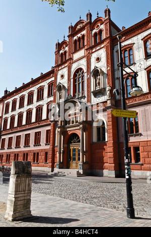 Façade de l'université, Université de Rostock, Rostock, Mecklembourg-Poméranie-Occidentale, Allemagne Banque D'Images