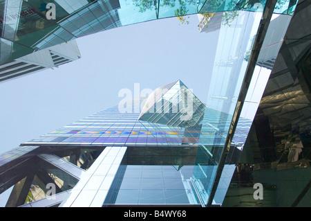 Un résumé sur la plaza centrale gratte-ciel dans le quartier central de l'île de Hong Kong. Banque D'Images