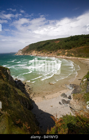 Le Trez Bihan plage, sur la presqu'île de Crozon (Finistère - France). La plage de Trez Bihan sur la presqu'île Banque D'Images
