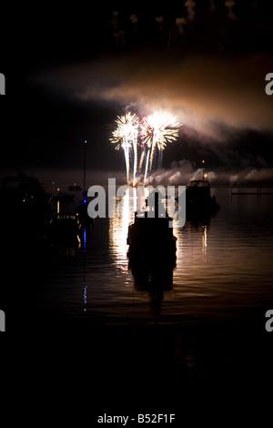 Fireworks 4 juillet Lopez Island îles San Juan l'État de Washington Banque D'Images