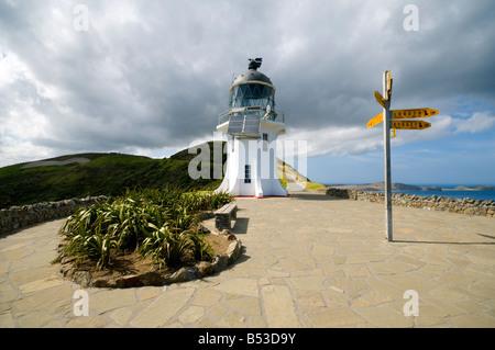 Le phare de Cape Reinga, Te Rerenga Wairua (le lieu des esprits bondissant), Île du Nord, Nouvelle-Zélande Banque D'Images