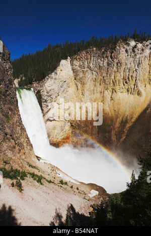 Lower Falls avec Rainbow Canyon Village Parc National de Yellowstone au Wyoming USA Banque D'Images