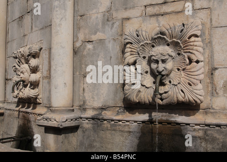 Détail de la grande fontaine d'Onofrio, Dubrovnik, Croatie