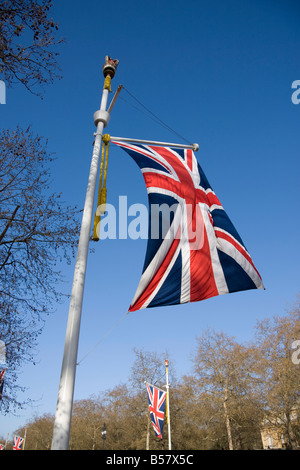 Union Jack Flag, le Mall, Londres, Angleterre, Royaume-Uni, Europe Banque D'Images