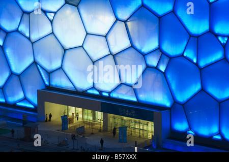 Le cube d'eau Le Centre national de natation natation arena dans le parc olympique, Beijing, China, Asia Banque D'Images