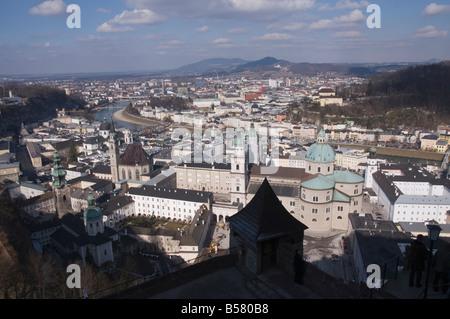 Vue depuis la forteresse de Hohensalzburg, Salzburg, Autriche, Europe Banque D'Images