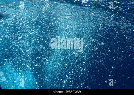 Bulles dans l'eau clair bleu frais Banque D'Images