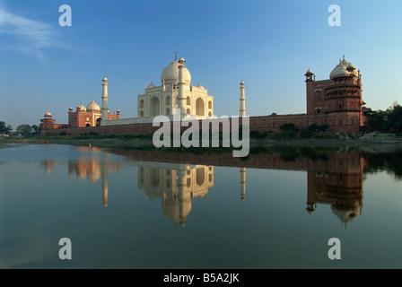 Taj Mahal Agra Site du patrimoine mondial de l'état de l'Uttar Pradesh Inde Asie Banque D'Images