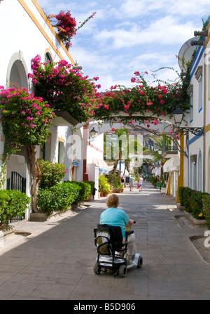 Personnes âgées handicapées dame en vacances à l'aide de son triporteur motorisé en fauteuil roulant friendly passerelle Banque D'Images