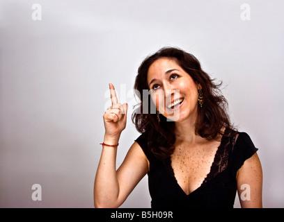 Femme ayant une idée brillante Banque D'Images