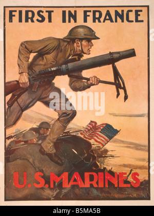 2 G55 P1 1917 61 WW I Affiche de recrutement de l'US Marine Histoire de la propagande de la Première Guerre mondiale, Banque D'Images