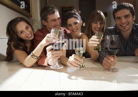 Groupe d'amis toasting Banque D'Images