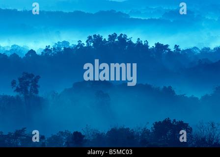 Matin brumeux de zone de collines avec rayon de lumière Banque D'Images
