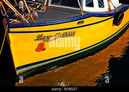 Bateau pour les plongeurs St Abbs port. Scottish Borders. Le Berwickshire. L'Écosse.