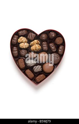 Bonbons au chocolat coeur cadeau de Jour de Valentines Banque D'Images