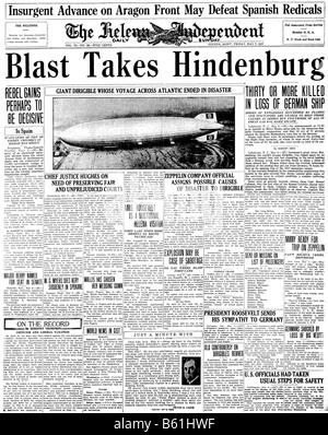 Première page d'un journal américain sur la 1937 catastrophe hindenburg Banque D'Images