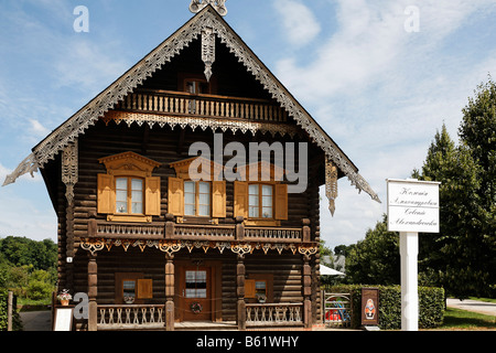 Maison en bois dans le style traditionnel russe, colonie russe, Alexandrowka, Potsdam, Brandebourg, Allemagne, Europe