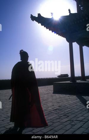 """Des """"soldat à Jiayuguan Fort, à l'extrémité ouest de la Grande Muraille de Chine, Gansu, Chine Banque D'Images"""