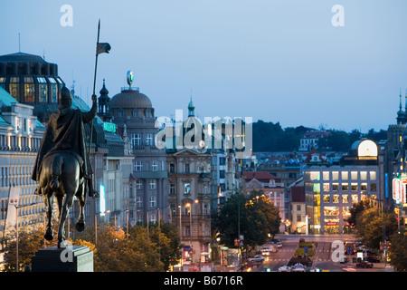 Monument Prague Wenceslas Banque D'Images