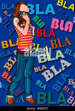 Illustration de Girl Talking on Cell Phone Banque D'Images