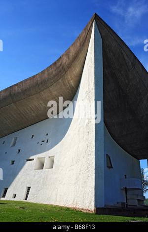Chapelle Notre Dame du haut, l'architecte Le Corbusier (1954), Ronchamp, Franche Comte, France Banque D'Images