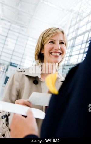 Femme de l'enregistrement Banque D'Images