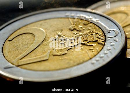 Une pièce de deux euros Banque D'Images