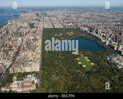 Vue aérienne au-dessus de Central Park à New York City Banque D'Images