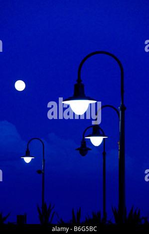 Les lampes de la rue au crépuscule. Banque D'Images