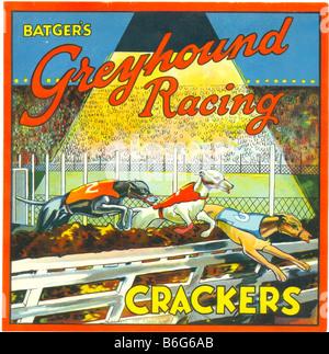Pour l'étiquette de l'Batger Greyhound Racing Crackers vers 1930 Banque D'Images