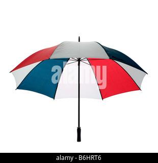Ouvrir un parapluie de golf multicolore isolé sur un fond blanc avec clipping path Banque D'Images