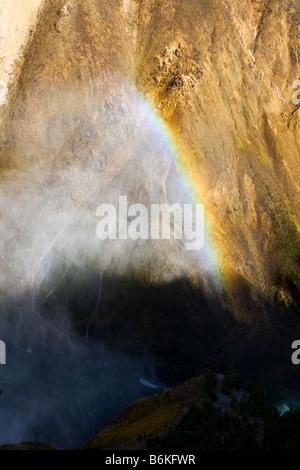 Les formulaires de l'arc-en-ciel dans la brume de l'Upper Falls, Grand Canyon de la Yellowstone (rivière), le Parc Banque D'Images