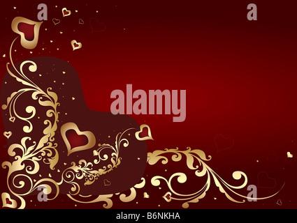 Valentines rouge et or avec des cœurs d'arrière-plan et ornement étoile Banque D'Images