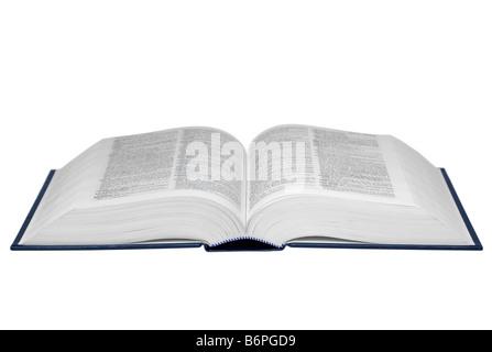 Ouvrir un livre de référence 29,7 isolé sur un fond blanc, pur texte est illisible Banque D'Images