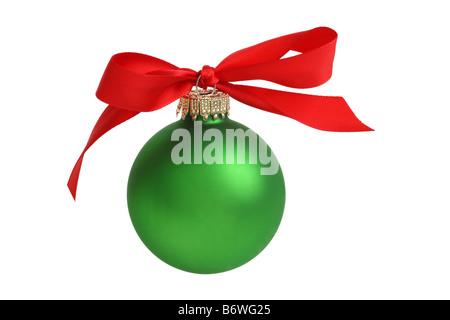 Ornement de Noël avec bow cut out isolé sur fond blanc Banque D'Images