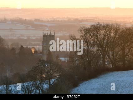 Paysage Cotswold à l'aube en hiver, Chipping Campden, Gloucestershire, England, UK