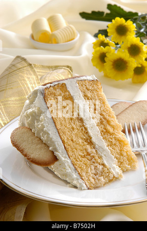 Tranche de gâteau éponge Victoria Banque D'Images